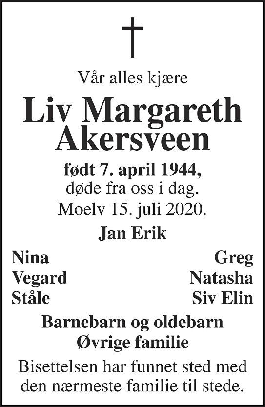 Liv Margareth Akersveen Dødsannonse