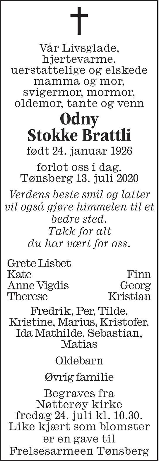Odny Stokke Brattli Dødsannonse