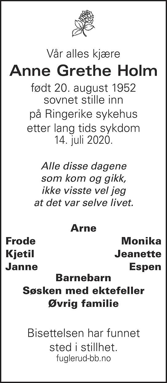 Anne Grethe Holm Dødsannonse