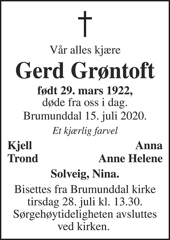 Gerd Antoinette Grøntoft Dødsannonse