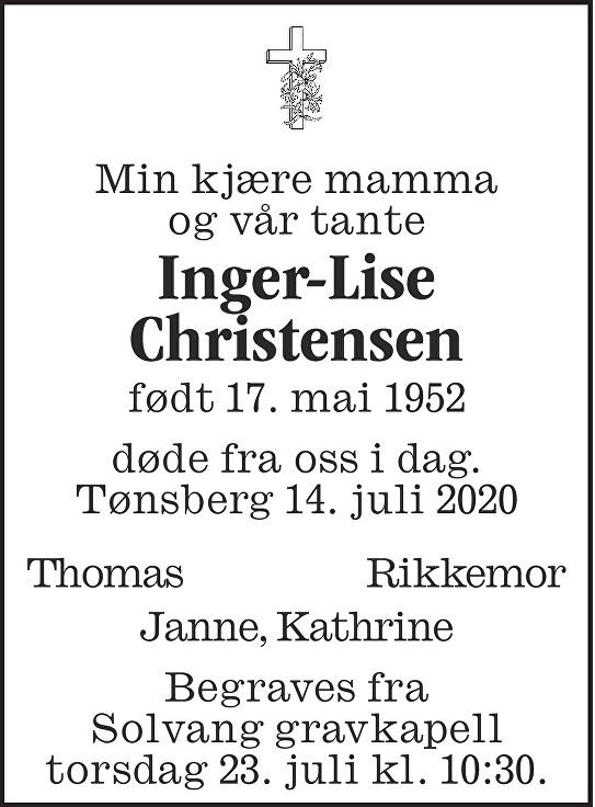 Inger-Lise Christensen Dødsannonse