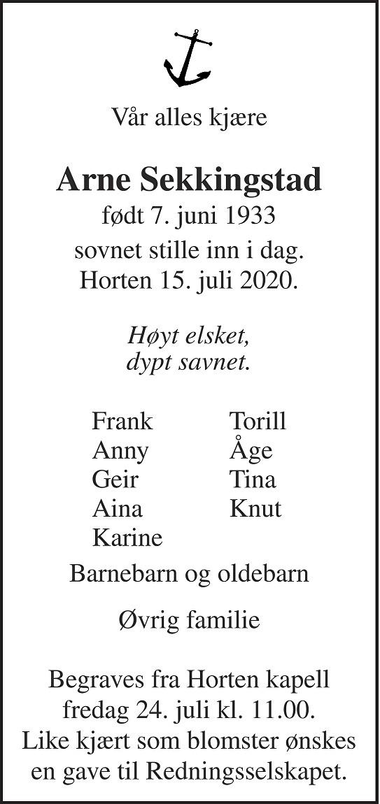 Arne Sekkingstad Dødsannonse