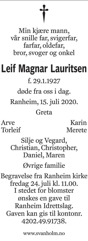 Leif Magnar Lauritsen Dødsannonse