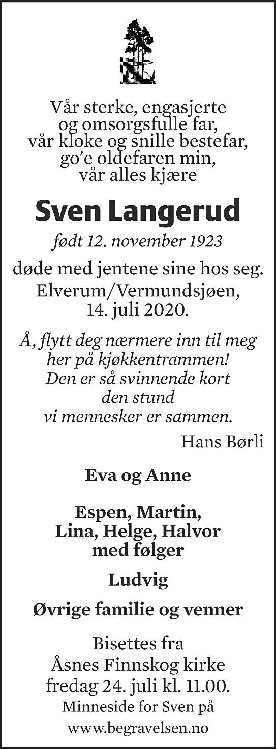 Sven Langerud Dødsannonse