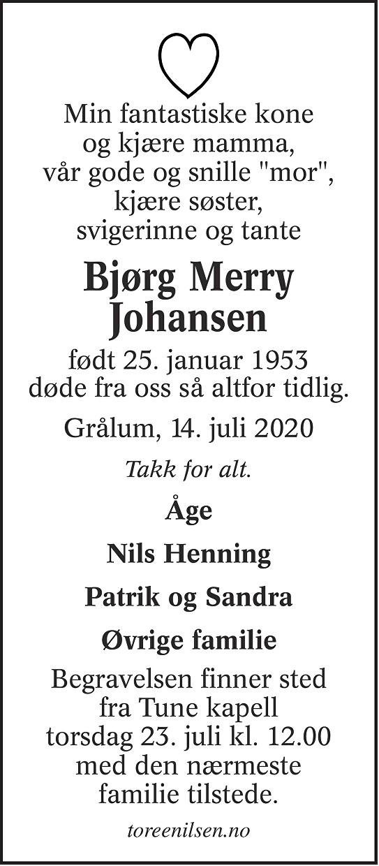 Bjørg Merry Johansen Dødsannonse