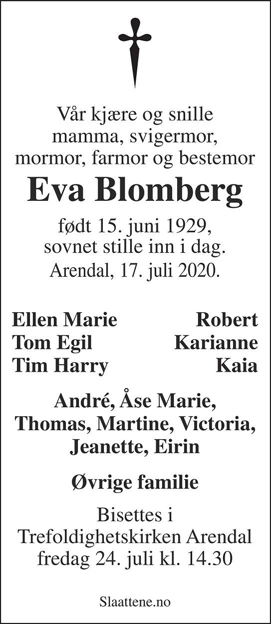 Eva Blomberg Dødsannonse