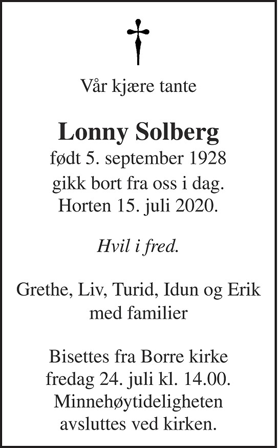 Lonny Solberg Dødsannonse