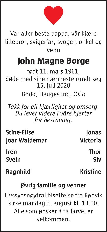 John Magne Borge Dødsannonse
