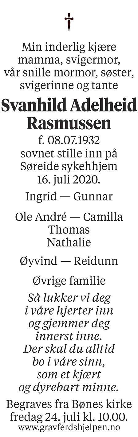 Svanhild Adelheid Rasmussen Dødsannonse