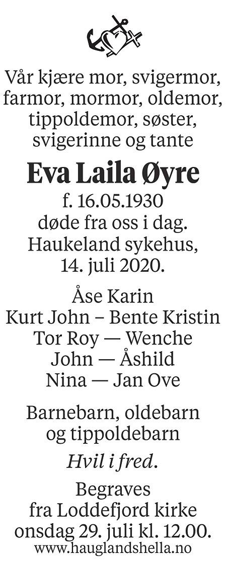 Eva Laila Øyre Dødsannonse