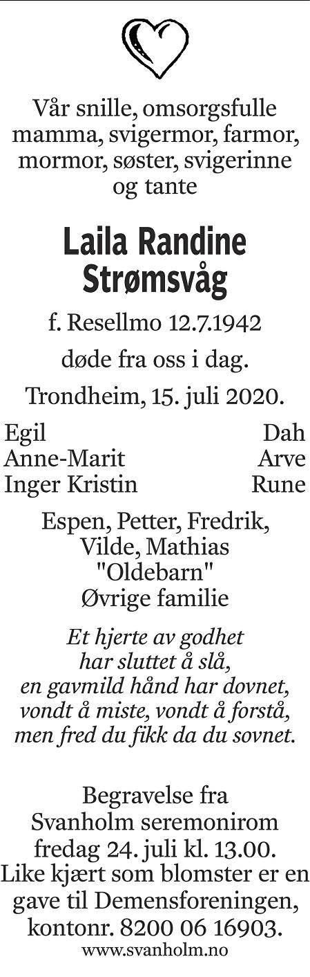 Laila Randine Strømsvåg Dødsannonse