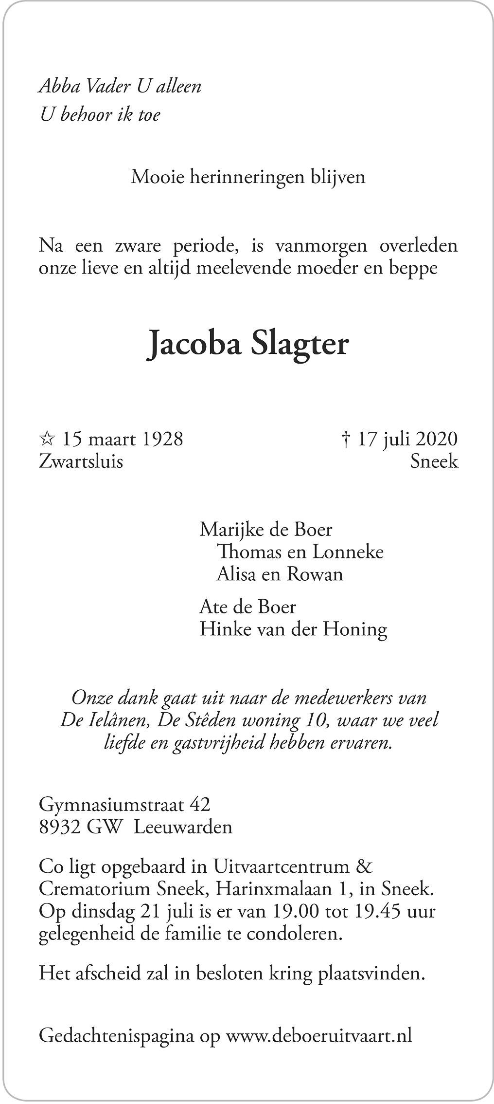 Jacoba de Boer-Slagter Death notice