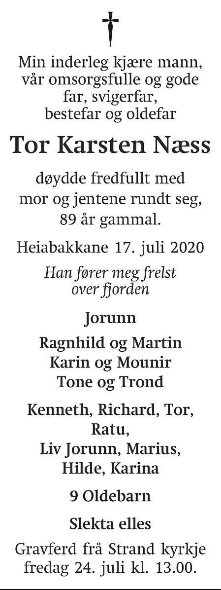 Tor Karsten Næss Dødsannonse