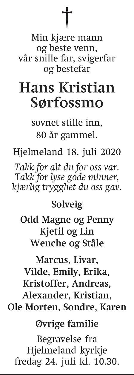 Hans Kristian  Sørfossmo Dødsannonse