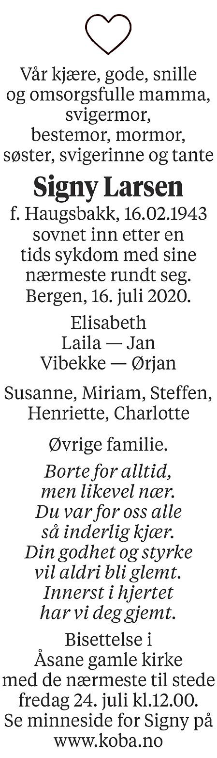 Signy Larsen Dødsannonse