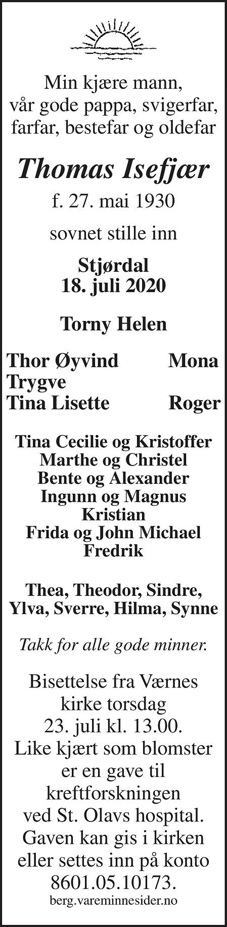 Thomas  Isefjær Dødsannonse