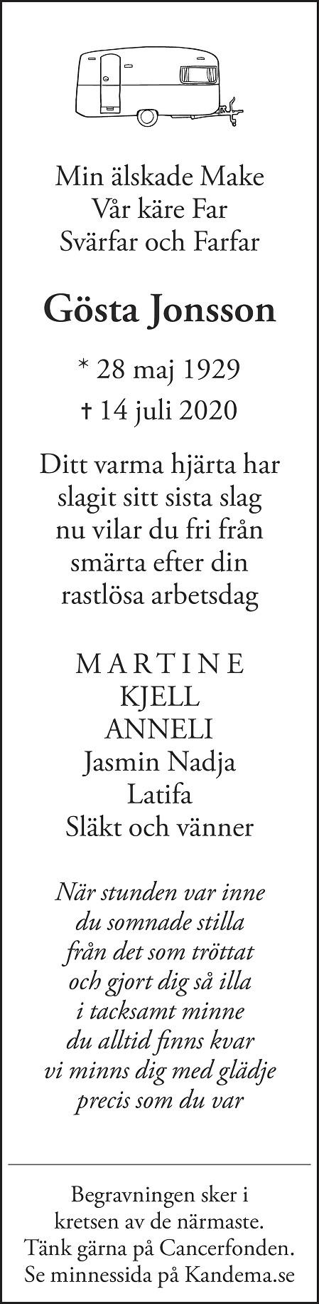 Gösta Jonsson Death notice
