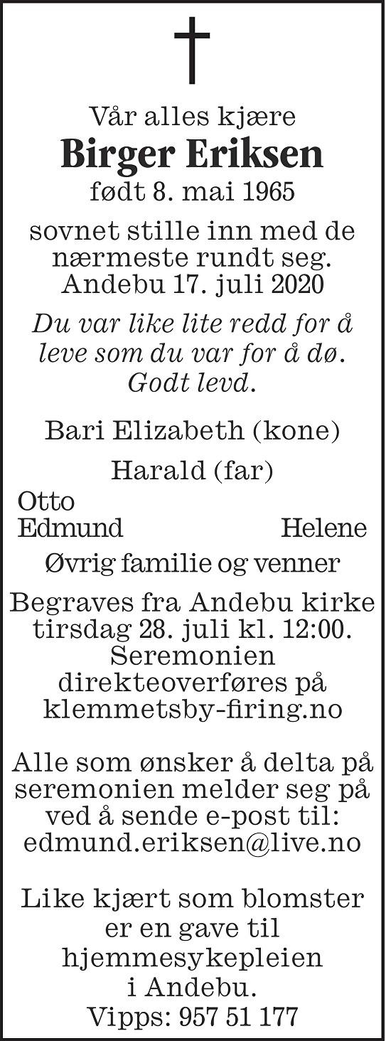 Birger Eriksen Dødsannonse
