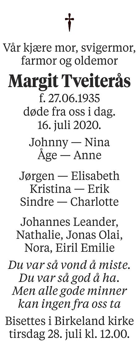 Margit Konstanse Tveiterås Dødsannonse
