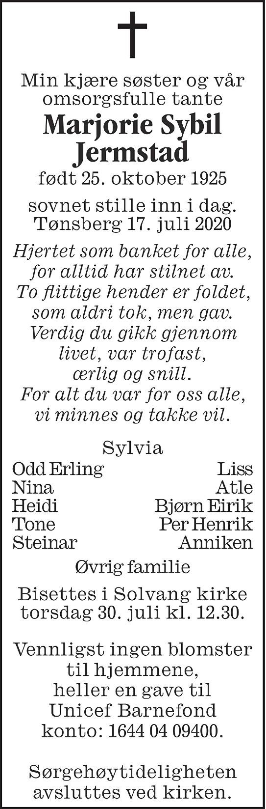 Marjorie Sybil Jermstad Dødsannonse