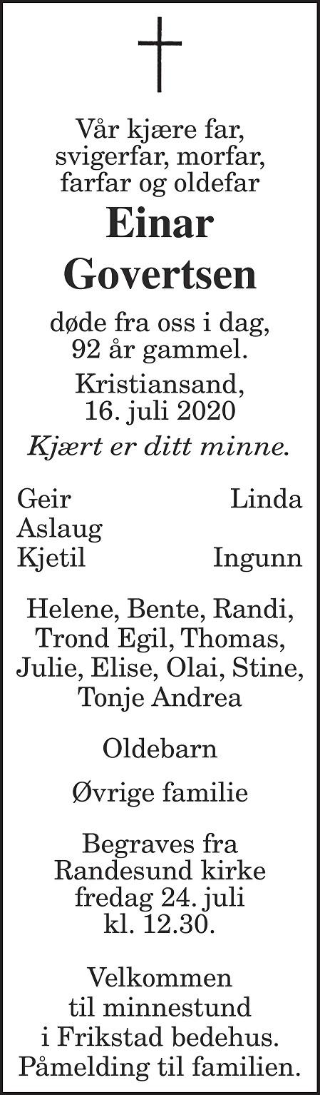 Einar Govertsen Dødsannonse