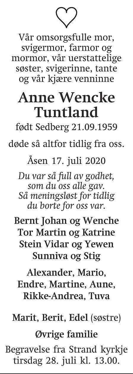 Anne Wencke Tuntland Dødsannonse