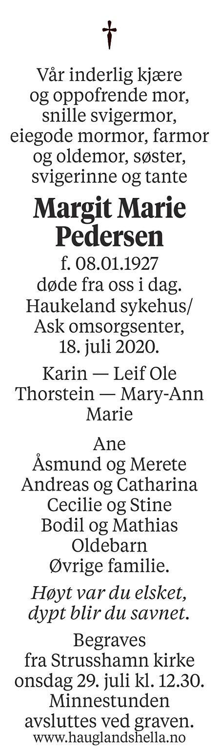 Margit Marie Pedersen Dødsannonse
