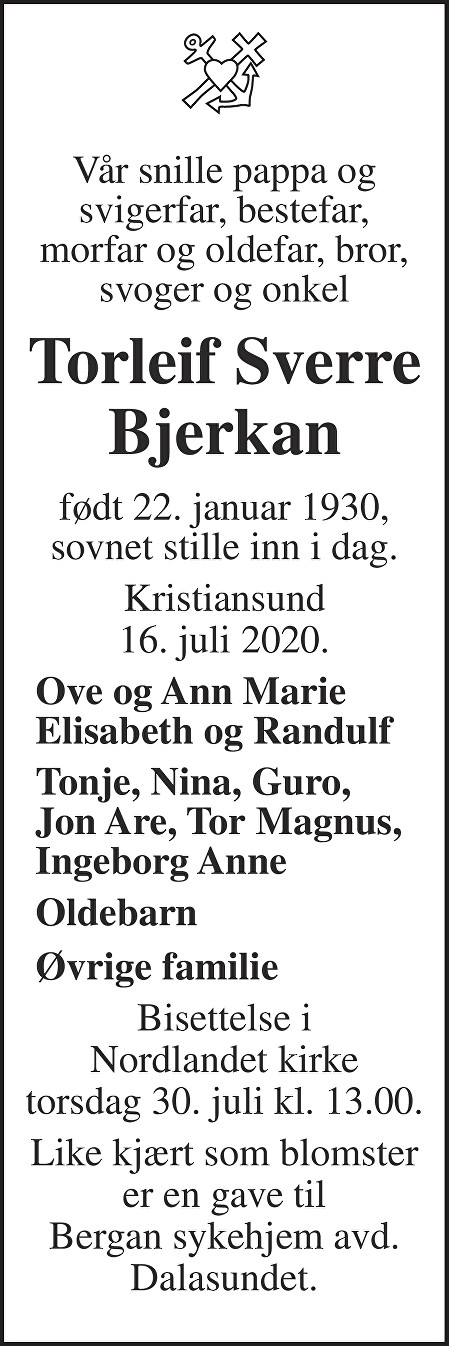 Torleif Sverre Bjerkan Dødsannonse