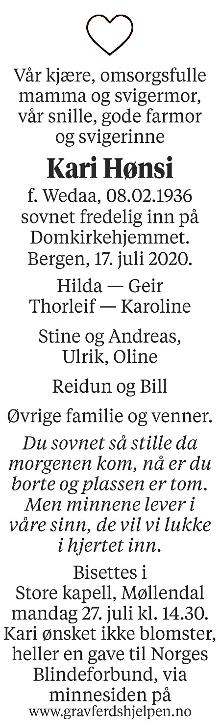 Kari Wenche Hønsi Dødsannonse