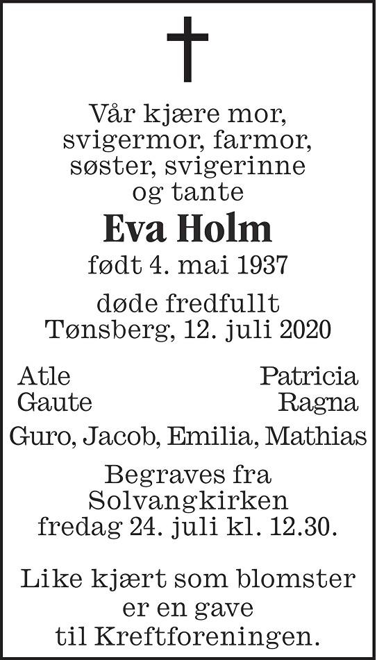 Eva Holm Dødsannonse