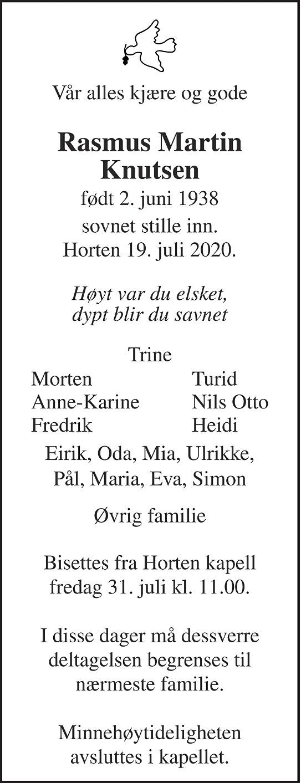 Rasmus Martin Knutsen Dødsannonse