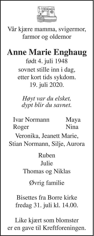 Anne Marie Enghaug Dødsannonse