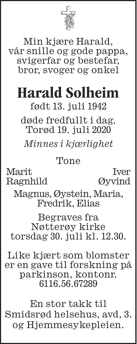 Harald Solheim Dødsannonse
