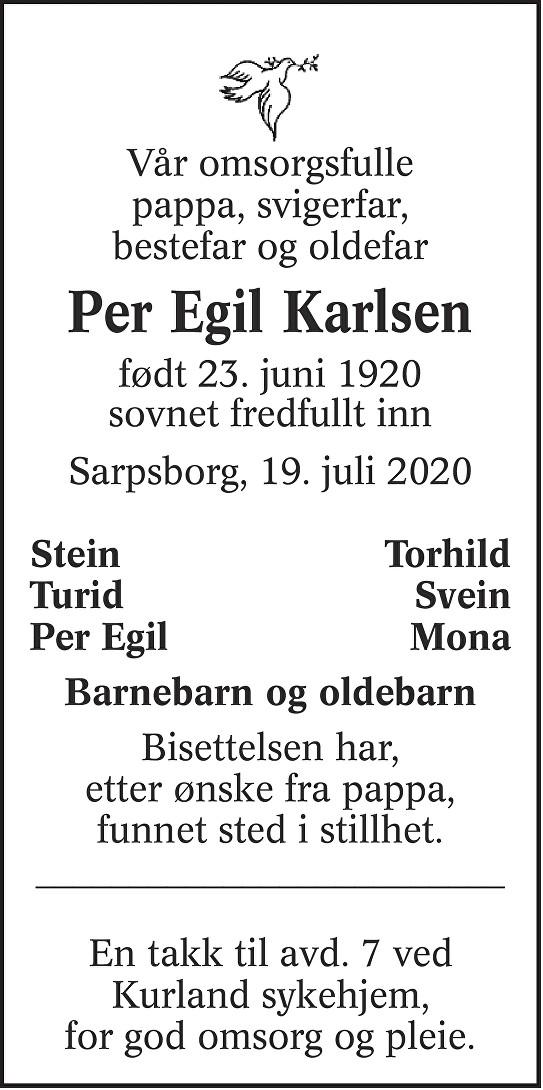 Per Egil Karlsen Dødsannonse
