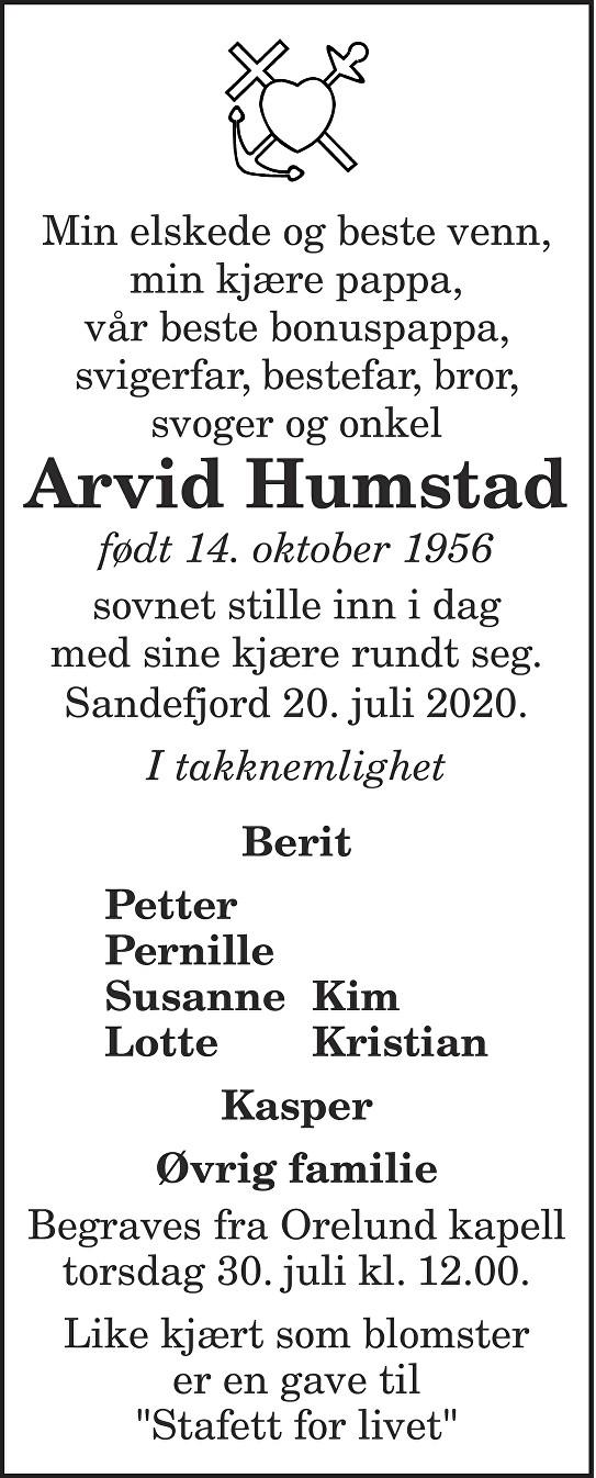 Arvid Humstad Dødsannonse