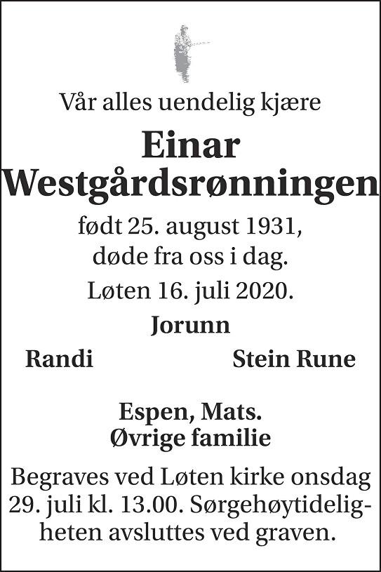Einar Westgårdsrønningen Dødsannonse