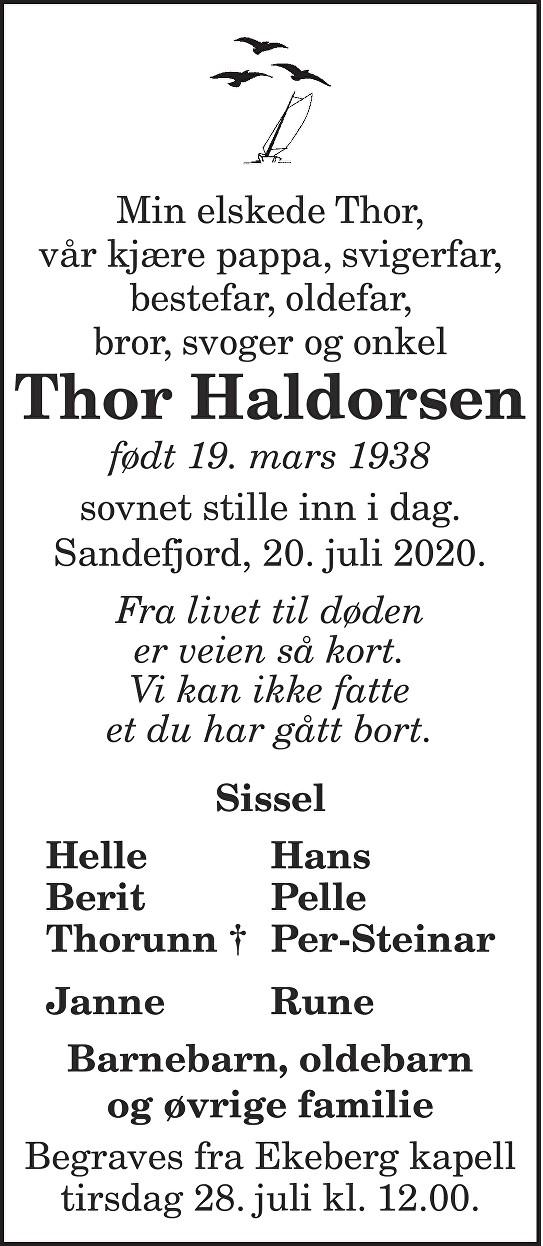 Thor Haldorsen Dødsannonse