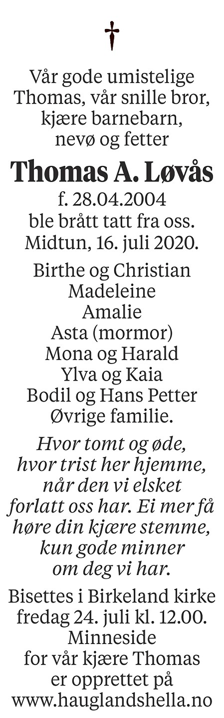 Thomas Alexander Løvås Dødsannonse
