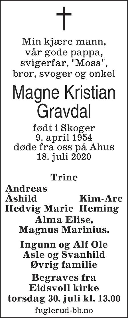 Magne Kristian Gravdal Dødsannonse