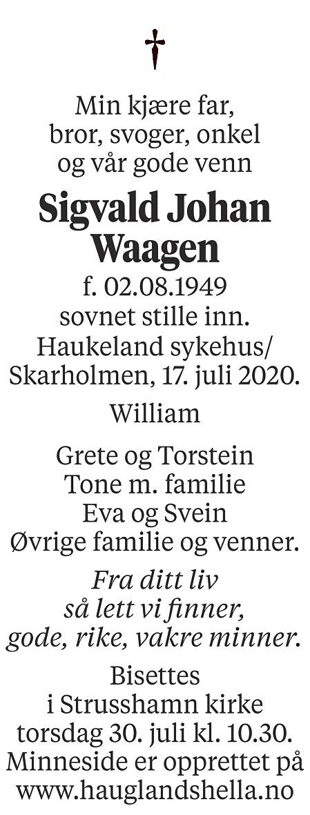 Sigvald Johan Waagen Dødsannonse