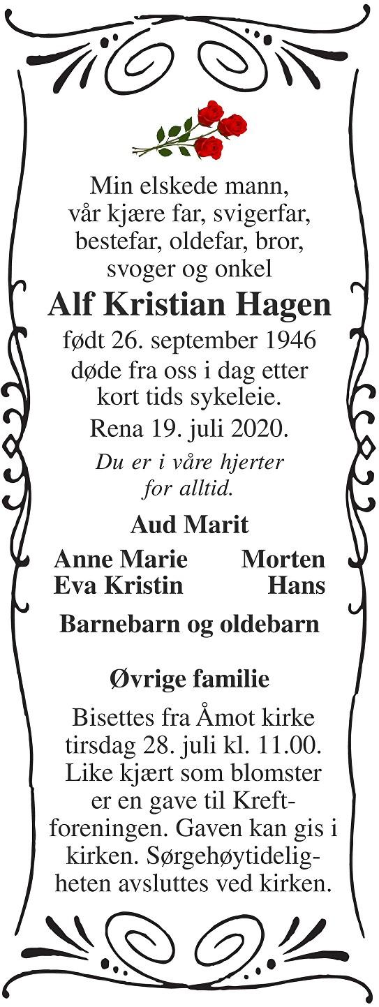 Alf Kristian Hagen Dødsannonse