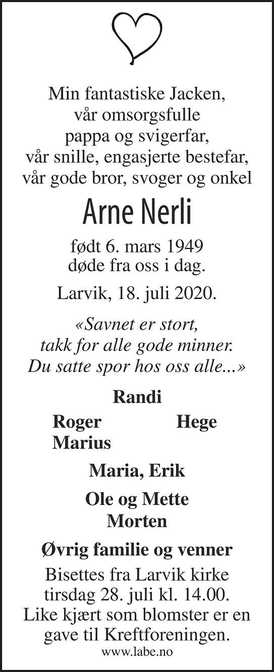 Arne Nerli Dødsannonse