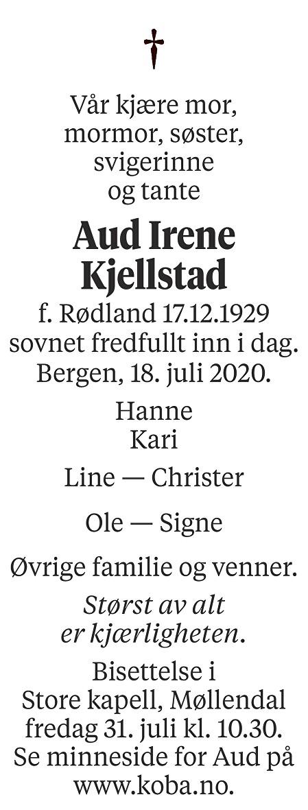 Aud Irene Kjellstad Dødsannonse