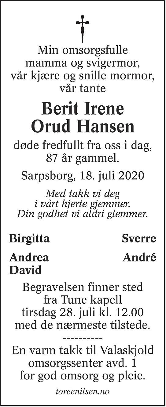 Berit Irene Orud Hansen Dødsannonse