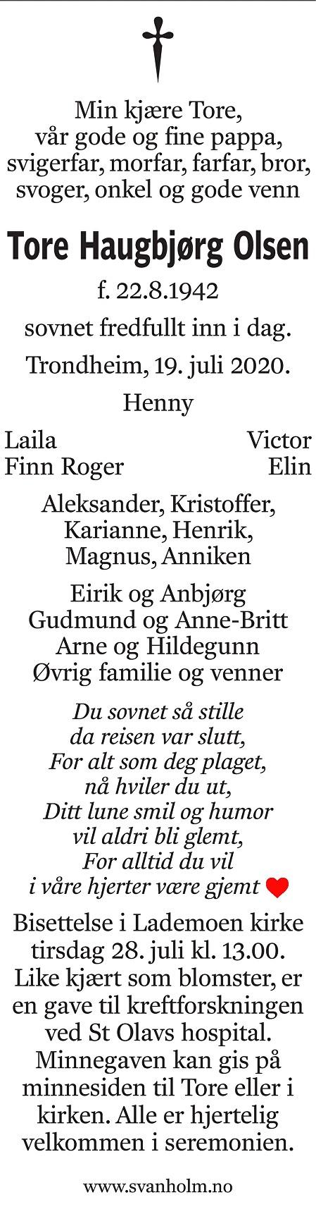 Tore Haugbjørg Olsen Dødsannonse