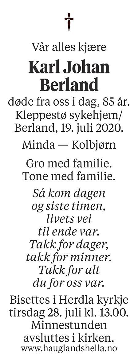 Karl Johan Berland Dødsannonse