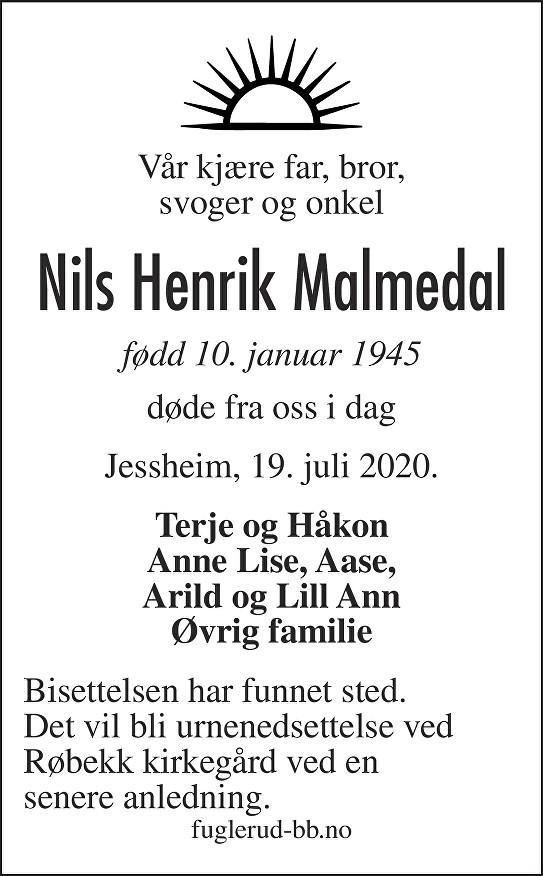 Nils Henrik Malmedal Dødsannonse
