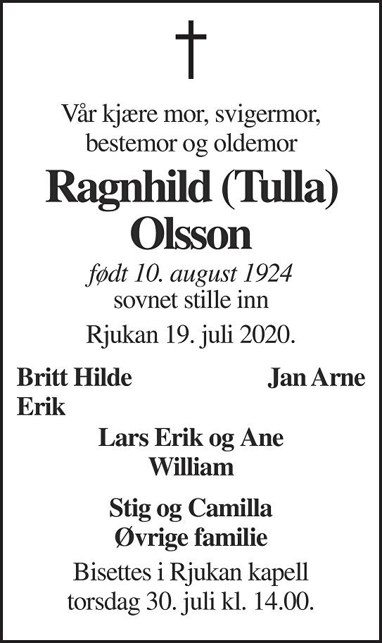 Ragnhild Olsson Dødsannonse