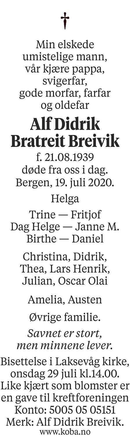Alf Didrik Bratreit Breivik Dødsannonse