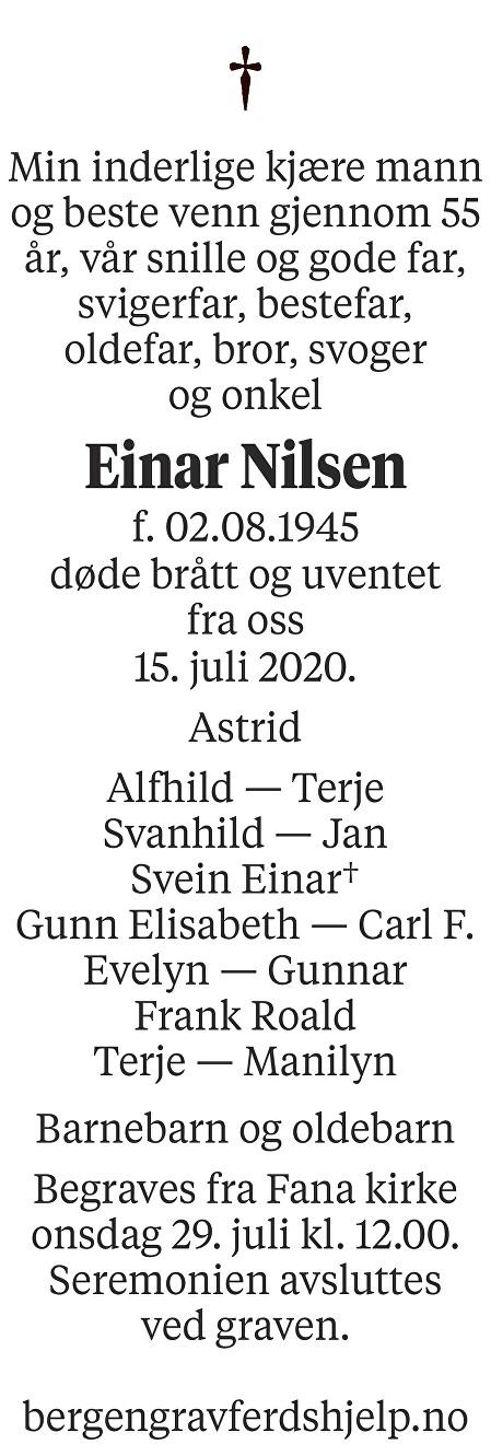 Einar  Nilsen Dødsannonse